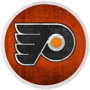 Philadelphia Flyers Hockey Team Retro Logo Vintage Recycled Pennsylvania License Plate Art Round Beach Towel by Design Turnpike