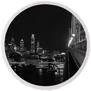Philadelphia Night B/w Round Beach Towel