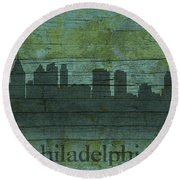Philadelphia Pennsylvania Skyline Art On Distressed Wood Boards Round Beach Towel