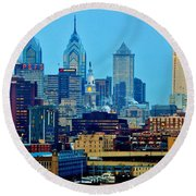 Philadelphia Skyline Round Beach Towel by Benjamin Yeager