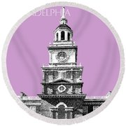 Philadelphia Skyline Independence Hall - Light Plum Round Beach Towel