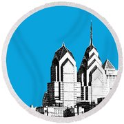 Philadelphia Skyline Liberty Place 1 - Ice Blue Round Beach Towel