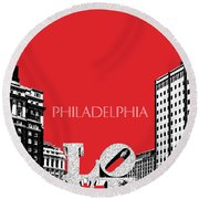 Philadelphia Skyline Love Park - Red Round Beach Towel