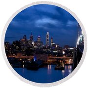 Philadelphia Twilight Round Beach Towel