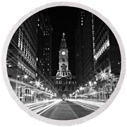 Philadephia City Hall -- Black And White Round Beach Towel