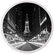 Philadephia City Hall -- Black And White Round Beach Towel by Stephen Stookey