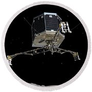 Round Beach Towel featuring the photograph Philae Lander Descending To Comet 67pc-g by Science Source