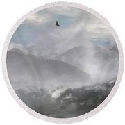 Philippine Eagle Over Rice Terraces Round Beach Towel