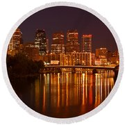 Philly Lights Reflected Round Beach Towel by Michael Porchik