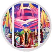 Phish New York For New Years Triptych Round Beach Towel