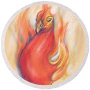 Phoenix In The Flames Round Beach Towel