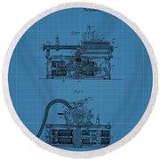 Phonograph Blueprint Patent Drawing Round Beach Towel