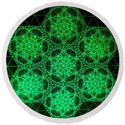 Round Beach Towel featuring the drawing Photon Interference Fractal by Jason Padgett