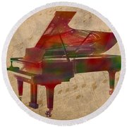 Piano Instrument Watercolor Portrait With Sheet Music Background On Worn Canvas Round Beach Towel
