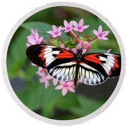 Piano Key Butterfly On Pink Penta Round Beach Towel