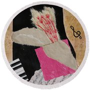 Round Beach Towel featuring the painting Piano Still Life by Mini Arora