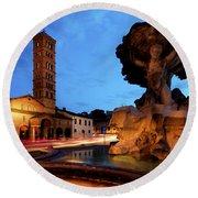 Piazza Della Bocca Della Verita' Round Beach Towel