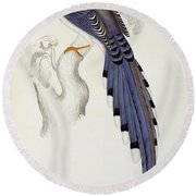 Pica Erythrorhyncha, From A Century Of Birds From The Himalaya Mountains Round Beach Towel