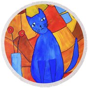 Picasso's Blue Cat Round Beach Towel