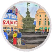 Round Beach Towel featuring the painting London- Piccadilly Circus by Magdalena Frohnsdorff