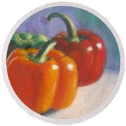 Pick A Pepper Round Beach Towel by Laurie Morgan
