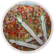 Picket Fence Flower Garden Round Beach Towel