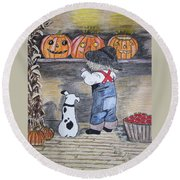 Picking Out The Halloween Pumpkin Round Beach Towel