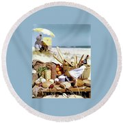 Picnic Display On The Beach Round Beach Towel