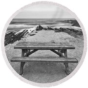 Picnic - Lone Table Overlooking The Ocean In Montana De Oro State Park In Caliornia Round Beach Towel