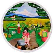 Picnic With The Farmers Round Beach Towel