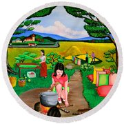 Picnic With The Farmers Round Beach Towel by Cyril Maza