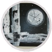 Round Beach Towel featuring the painting Pie In The Sky by Sharyn Winters