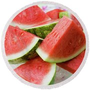 Pieces Of Watermelon On A Glass Platter Round Beach Towel