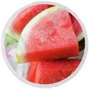 Pieces Of Watermelon On A Platter Round Beach Towel
