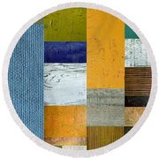 Pieces Parts Lv Round Beach Towel by Michelle Calkins