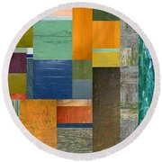 Pieces Parts V Round Beach Towel by Michelle Calkins