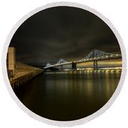 Pier 14 And Bay Bridge At Night Round Beach Towel