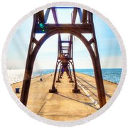 Pier At South Haven Round Beach Towel