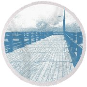 Pier In Blue Round Beach Towel