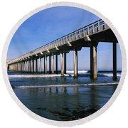 Pier In The Pacific Ocean, Scripps Round Beach Towel