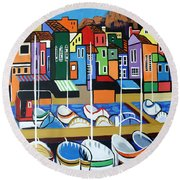 Round Beach Towel featuring the painting Pier One by Anthony Falbo