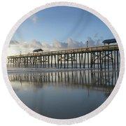 Pier Reflection Round Beach Towel