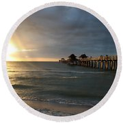 Pier Sunset Naples Round Beach Towel by Christiane Schulze Art And Photography