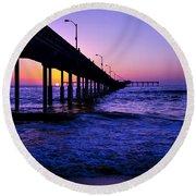 Pier Sunset Ocean Beach Round Beach Towel