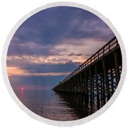 Pier To The Horizon Round Beach Towel
