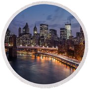 Piercing Manhattan Round Beach Towel by Mihai Andritoiu