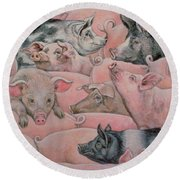 Pig Spread Round Beach Towel by Ditz