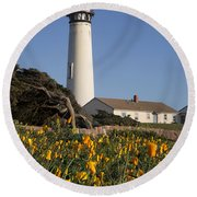 Pigeon Point Lighthouse And California Poppies Round Beach Towel