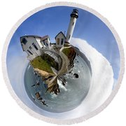 Pigeon Point Lighthouse Planet Round Beach Towel
