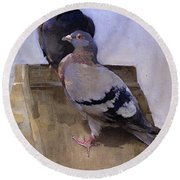 Pigeons On The Roof Round Beach Towel